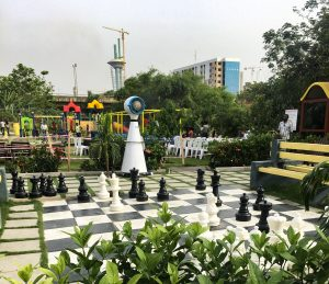 Big chess figurines at central park Abuja
